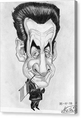 Mr Nicolas Sarkozi Caricatur Portrait Canvas Print