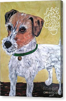 Canvas Print featuring the painting Mr. R. Terrier by Reina Resto