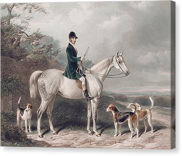 Mr William Long On Bertha Canvas Print by W and H Barraud