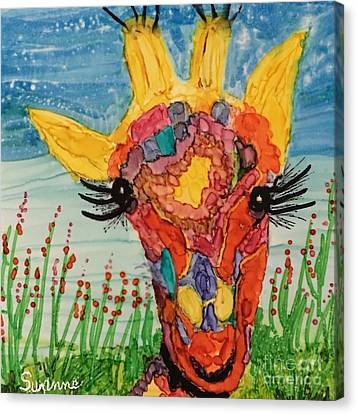 Canvas Print featuring the painting Mrs Giraffe by Suzanne Canner