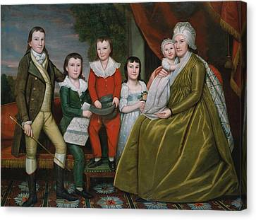 Mrs. Noah Smith And Her Children Canvas Print by Ralph Earl