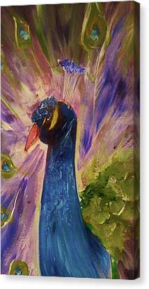 Mrs. Peacock Canvas Print by Libby Sealy