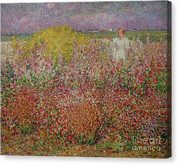Mrs Russell Amongst The Flowers At Belle Isle Canvas Print by John Peter Russell