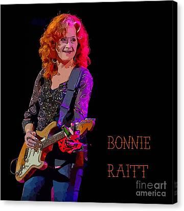 Ms. Bonnie Raitt Rocks Canvas Print by John Malone