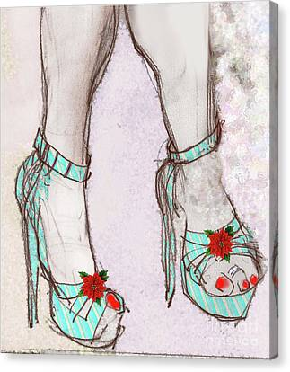 Canvas Print featuring the painting Ms Cindy's Shoes With Poinsettas by Carolyn Weltman