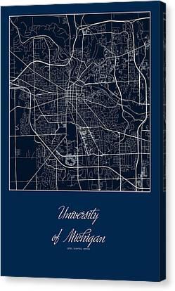 U Of M Street Map - University Of Michigan In Ann Arbor Map Canvas Print by Jurq Studio