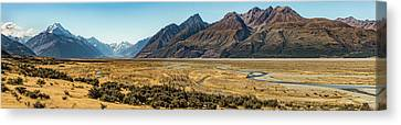 Canvas Print featuring the photograph Mt Cook And Tasman River  by Gary Eason
