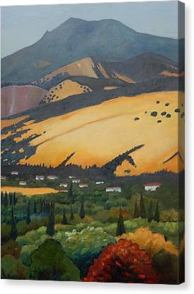 Canvas Print featuring the painting Mt. Diablo Above by Gary Coleman