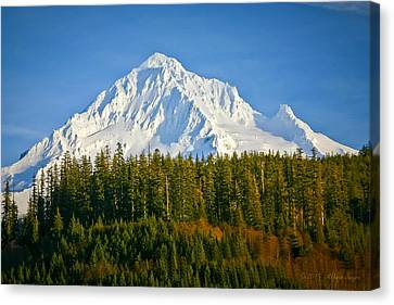 Mt Hood In Winter Canvas Print by Albert Seger