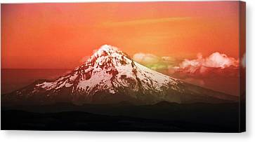 Canvas Print featuring the photograph Mt Hood Oregon Sunset by Aaron Berg