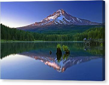 Mt. Hood Reflection At Sunset Canvas Print by William Lee