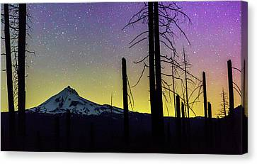 Canvas Print featuring the photograph Mt. Jefferson Bathed In Auroral Light by Cat Connor