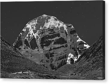 Mt. Kailash In Moonlight Canvas Print by Hitendra SINKAR
