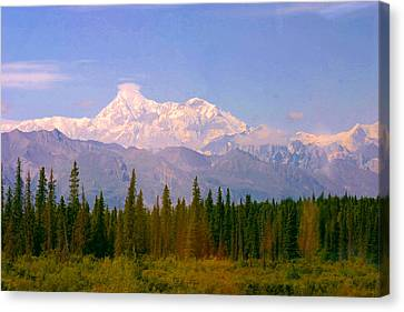 Canvas Print featuring the photograph Mt Mckinley 125 Miles Away by Jack G  Brauer