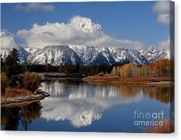 Canvas Print featuring the photograph Mt Moran by Edward R Wisell