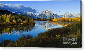 Mt. Moran On The Snake River Canvas Print