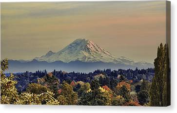 Mt Rainer Fall Color Rising Canvas Print by James Heckt