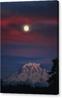Mt Rainer Super Moon Canvas Print