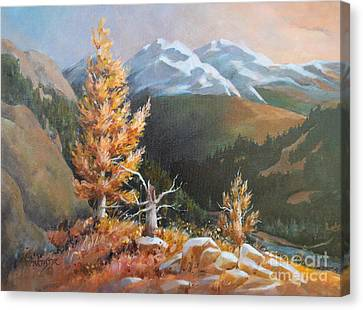 Canvas Print featuring the painting Mt. Rainier 5 by Marta Styk