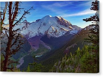 Mt Rainier At Emmons Glacier Canvas Print by Ken Stanback