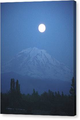 Mt Rainier Full Moon Canvas Print