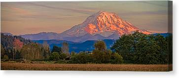 Canvas Print featuring the photograph Mt Rainier In The Fall by Ken Stanback
