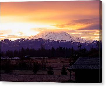 Mt. Rainier On Fire Canvas Print