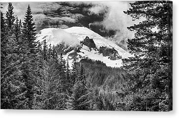 Canvas Print featuring the photograph Mt Rainier View - Bw by Stephen Stookey