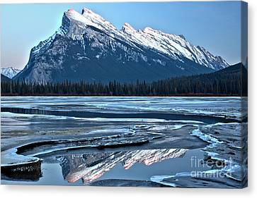 Canvas Print - Mt Rundle Blue Sky Reflections by Adam Jewell