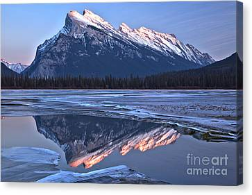 Canvas Print - Mt Rundle Pink Peak Reflections by Adam Jewell