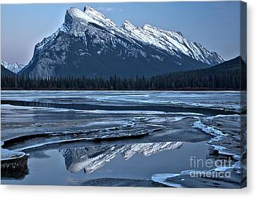 Canvas Print - Mt Rundle Reflections In The Ice by Adam Jewell