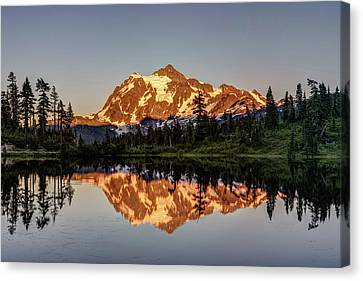 Canvas Print featuring the photograph Mt Shuksan Reflection by Pierre Leclerc Photography