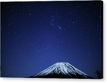 Star Trails Canvas Print - Mt.fuji And Winter Stars by Takeshi.K