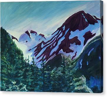 Canvas Print featuring the painting Mt.roberts Juneau Alaska by Yulia Kazansky
