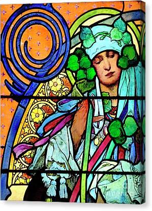 Mucha Window, Prague  Canvas Print by Phil Robinson