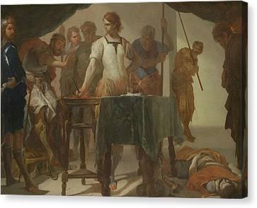 Confronting Canvas Print - Mucius Scaevola Confronting King Porsenna by Bernardo Cavallino