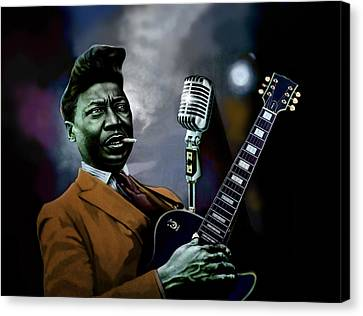 Canvas Print featuring the mixed media Muddy Waters - Mick Jagger's Grandfather by Dan Haraga