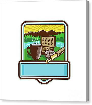 Mug Fly Tackle Bait Box Rod Reel Crest Woodcut Canvas Print by Aloysius Patrimonio