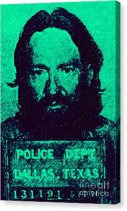 Mugshot Willie Nelson P28 Canvas Print
