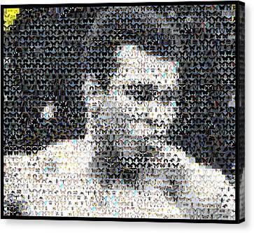 Boxer Canvas Print - Muhammad Ali Butterfly Bee Mosaic by Paul Van Scott