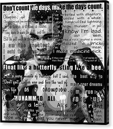 Muhammad Ali - Cassius Clay Motivational Inspirational Independent Quotes 1 Canvas Print