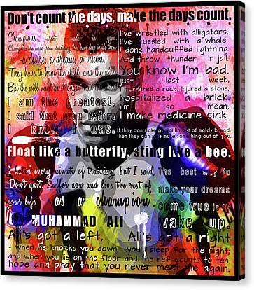 Muhammad Ali - Cassius Clay Motivational Inspirational Quotes 2 Canvas Print by Diana Van