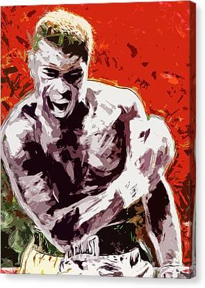 Muhammed Ali Boxing Champ Digital Paintng Canvas Print by David Haskett