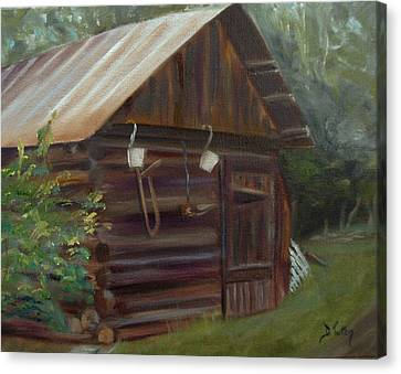 Canvas Print featuring the painting Mulberry Farms Grainery by Donna Tuten