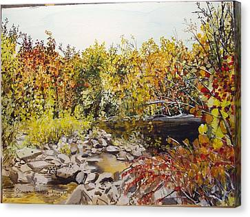 Mulberry River In Fall Another View Canvas Print by Sharon  De Vore