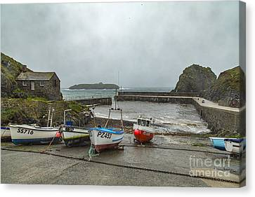 Canvas Print featuring the photograph Mullion Cove Harbour by Brian Roscorla