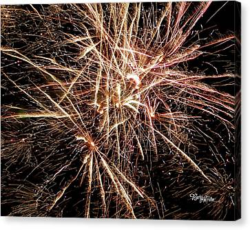Canvas Print featuring the photograph Multi Blast Fireworks #0721 by Barbara Tristan