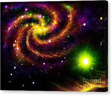 Outer Space Canvas Print - Multi Color Galaxy. Digital Space Art by Sofia Metal Queen