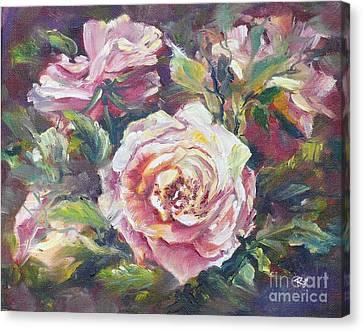 Multi-hue And Petal Rose. Canvas Print