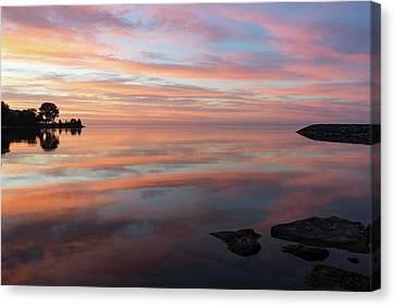 Multicolored Brushstrokes - Silky Sunrise On Lake Ontario Canvas Print by Georgia Mizuleva